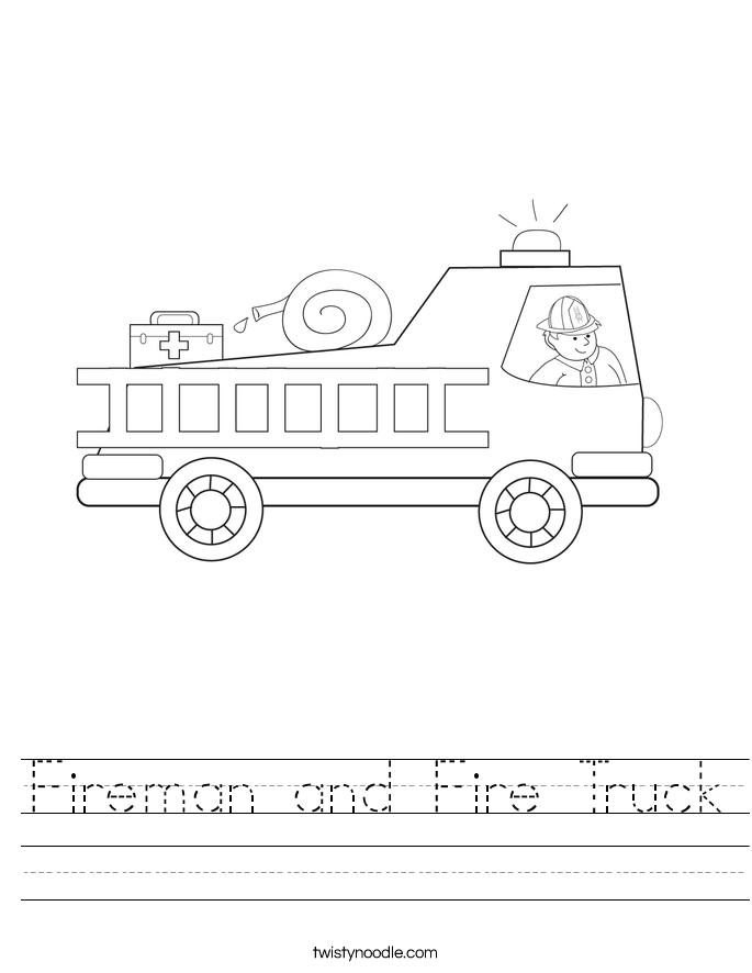 Fireman and Fire Truck Worksheet