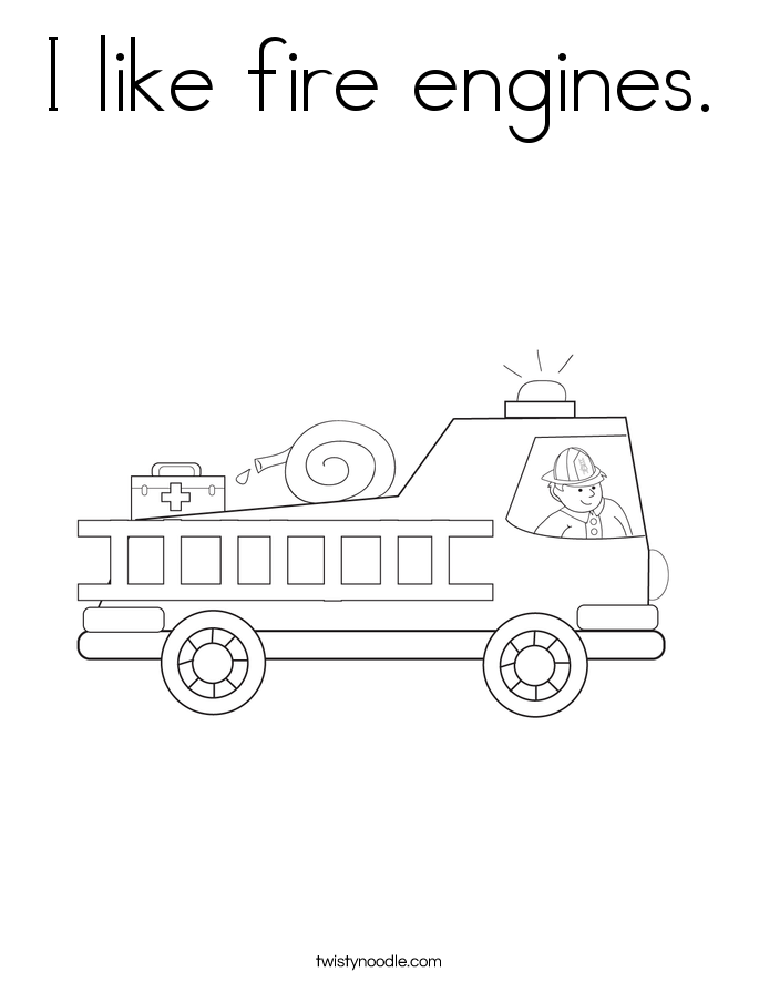I like fire engines. Coloring Page