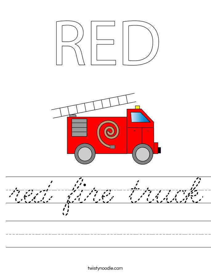red fire truck Worksheet