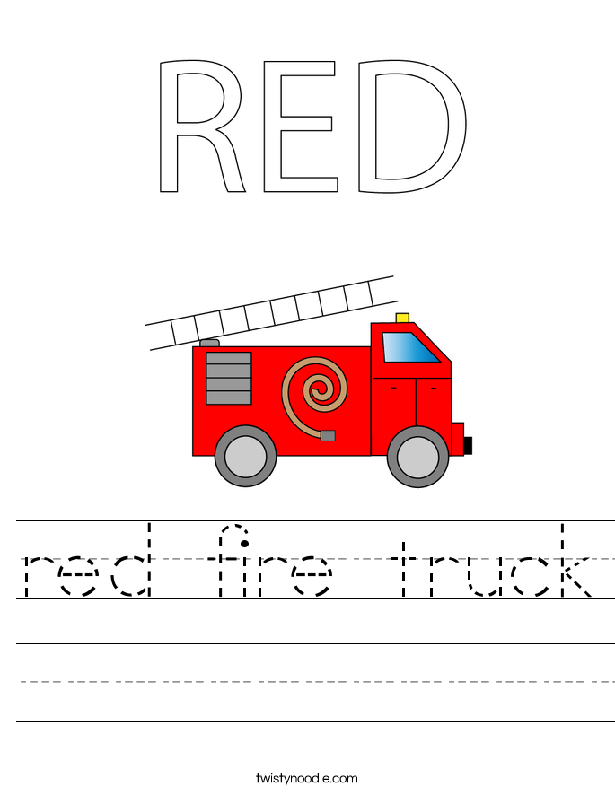 RED Fire Truck Worksheet Twisty Noodle