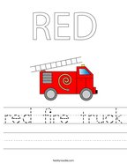 RED Fire truck Handwriting Sheet