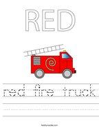 RED Fire truck Handwriting Sheet