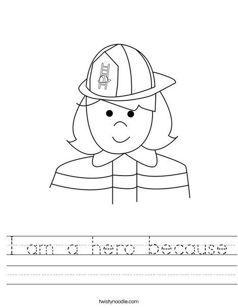 I Am A Hero Because Worksheet