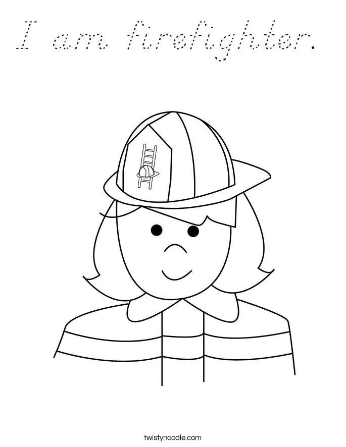 I am firefighter.  Coloring Page
