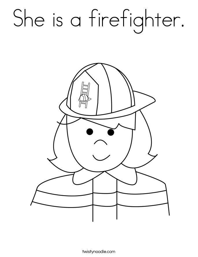 She is a firefighter. Coloring Page