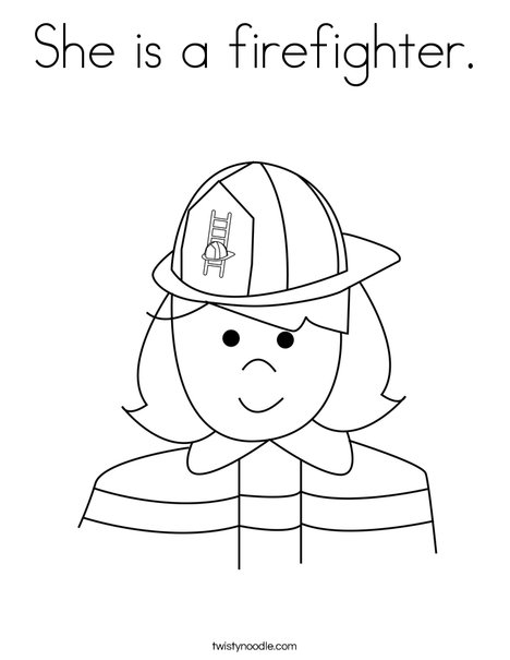 Girl Firefighter Coloring Page