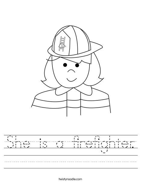 Girl Firefighter Worksheet