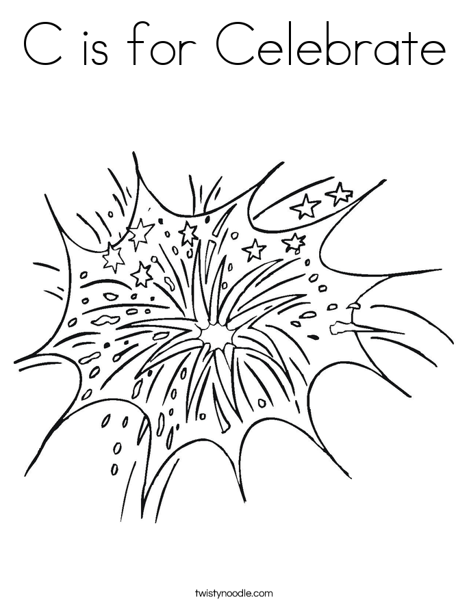 Fireworks Coloring Page Twisty Noodle