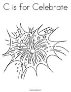 C is for Celebrate Coloring Page