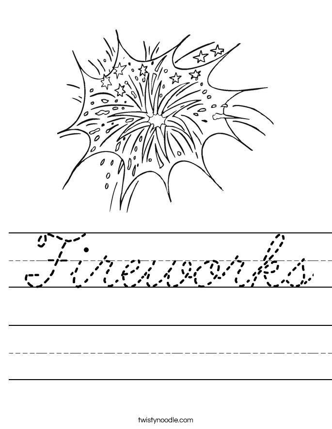 fireworks worksheet cursive twisty noodle. Black Bedroom Furniture Sets. Home Design Ideas