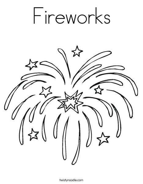 Merveilleux Fireworks Coloring Page