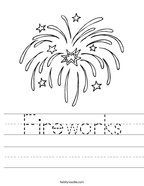 Fireworks Handwriting Sheet