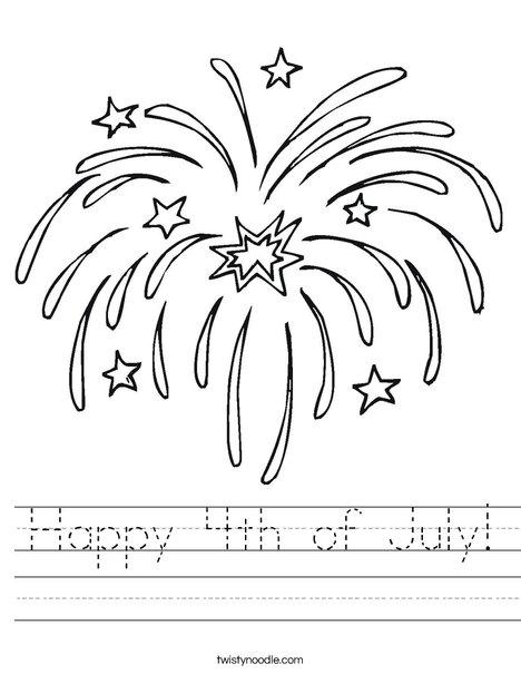 Happy 4th of July Worksheet - Twisty Noodle