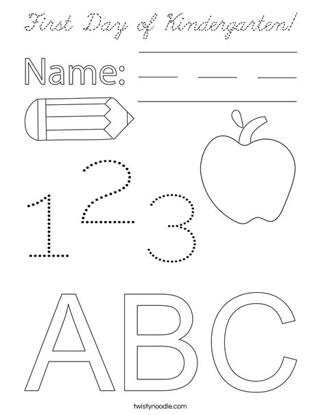 First Day of Kindergarten! Coloring Page