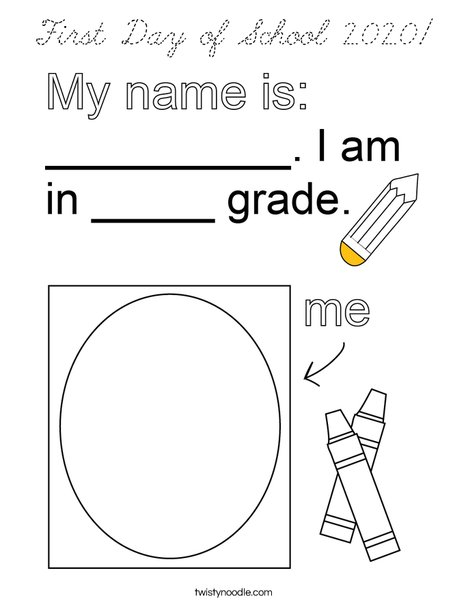 First Day of School 2019 Coloring Page