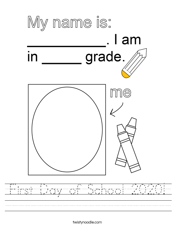 First Day of School 2020! Worksheet