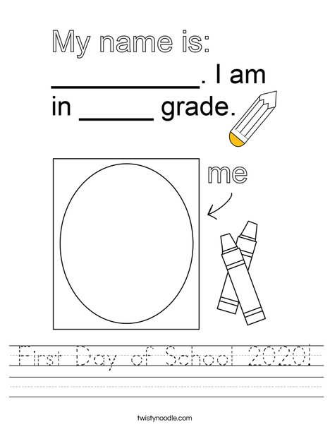 First Day of School 2019 Worksheet