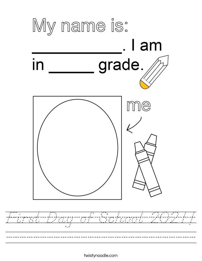 First Day of School 2021! Worksheet