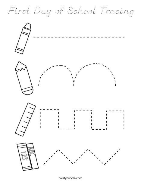 First Day of School Tracing Coloring Page