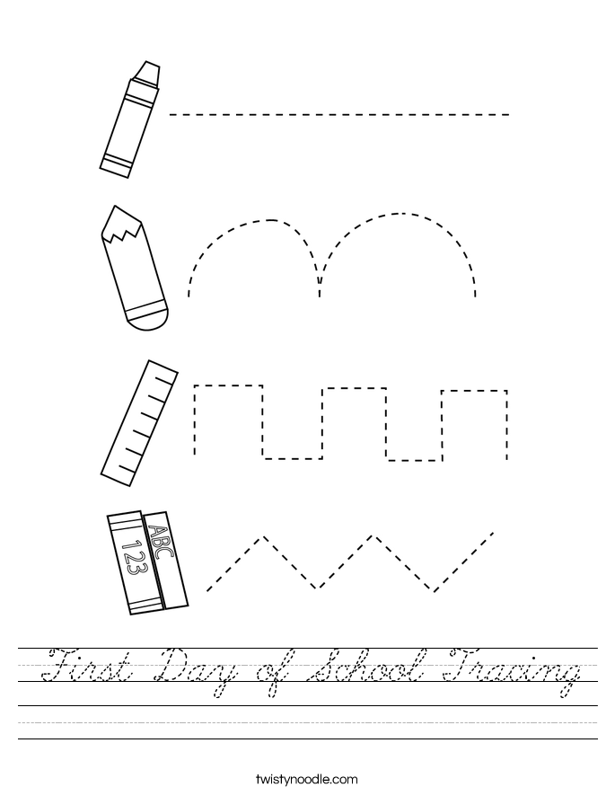 First Day of School Tracing Worksheet
