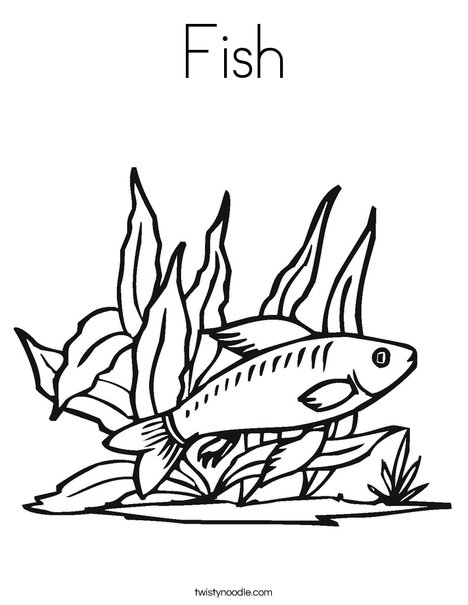 Fish in Seaweed Coloring Page