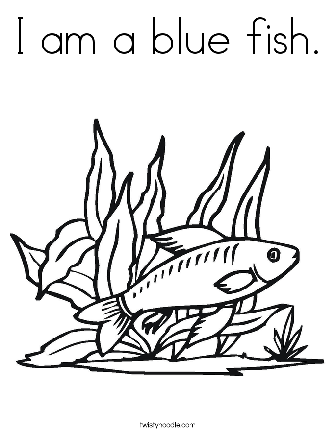 I am a blue fish. Coloring Page