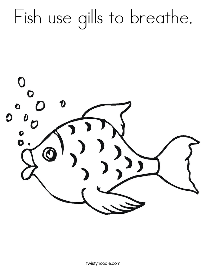 Fish use gills to breathe. Coloring Page
