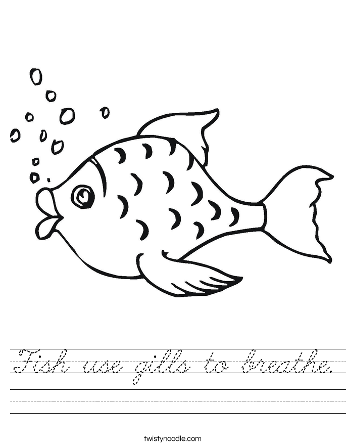 Fish use gills to breathe. Worksheet