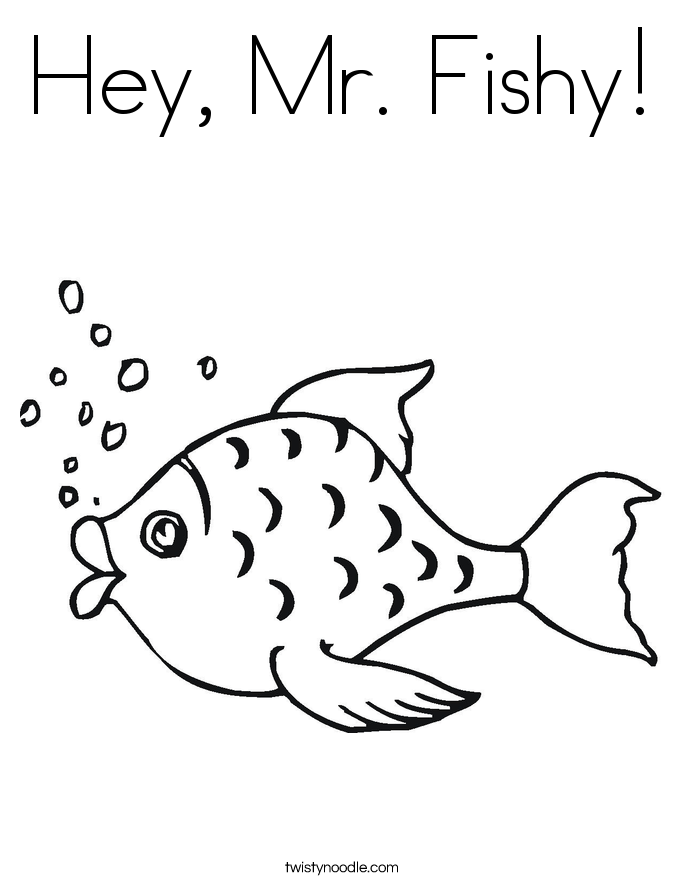 Hey, Mr. Fishy! Coloring Page