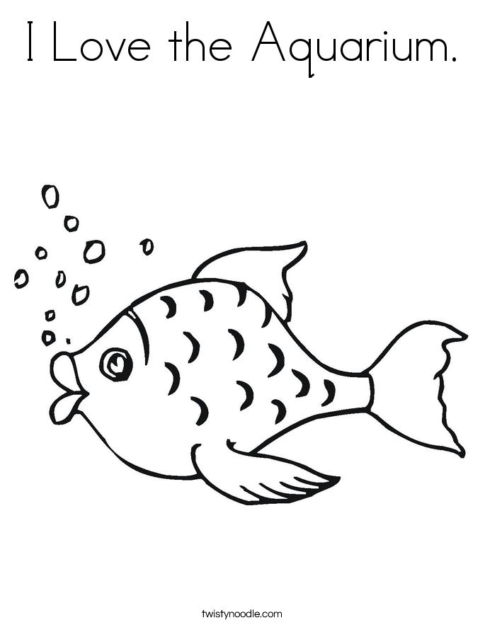I Love the Aquarium. Coloring Page