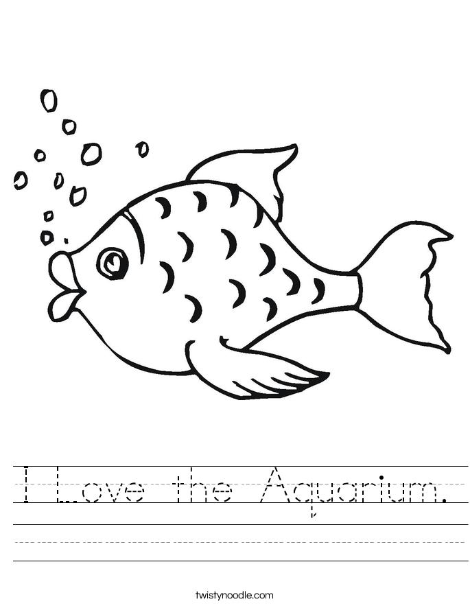 I Love the Aquarium. Worksheet