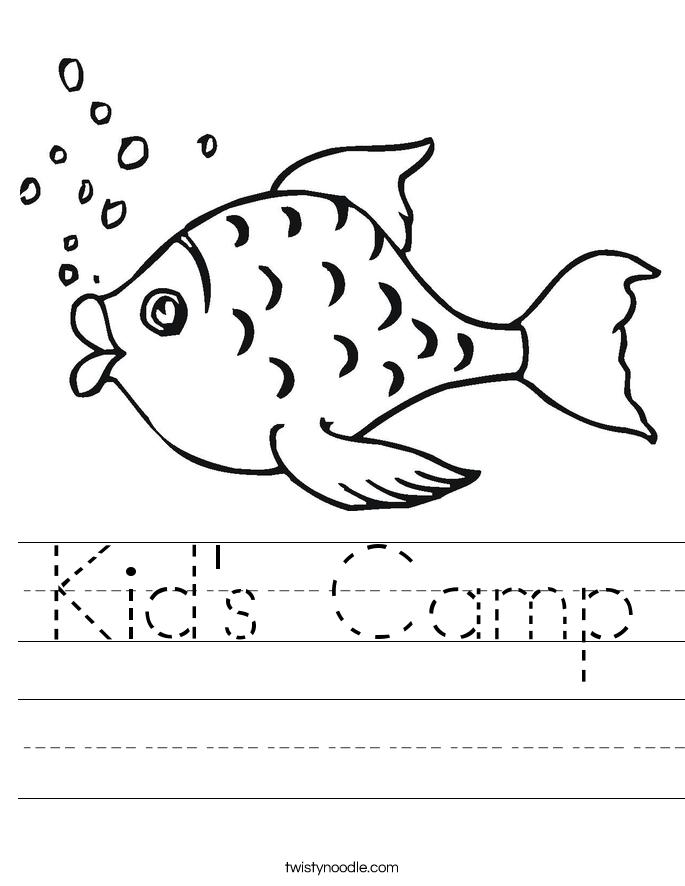 Kid's Camp Worksheet