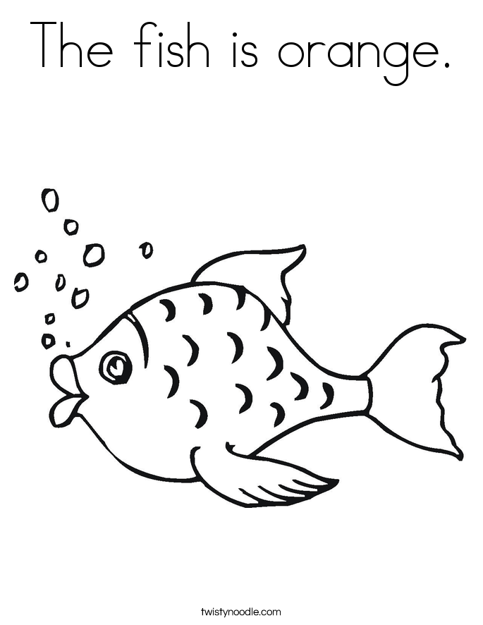 The fish is orange. Coloring Page