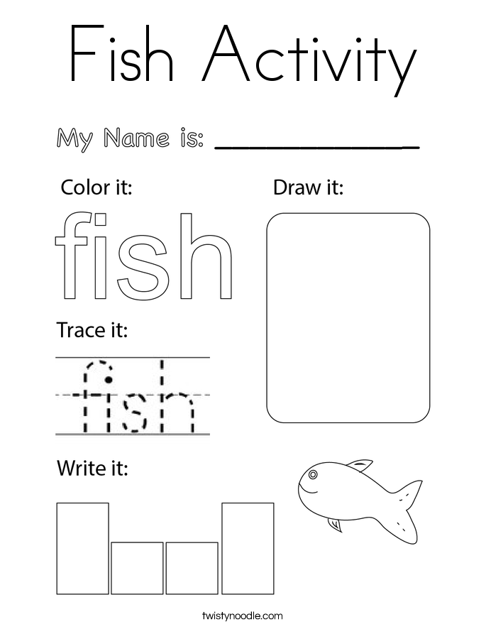 Fish Activity Coloring Page