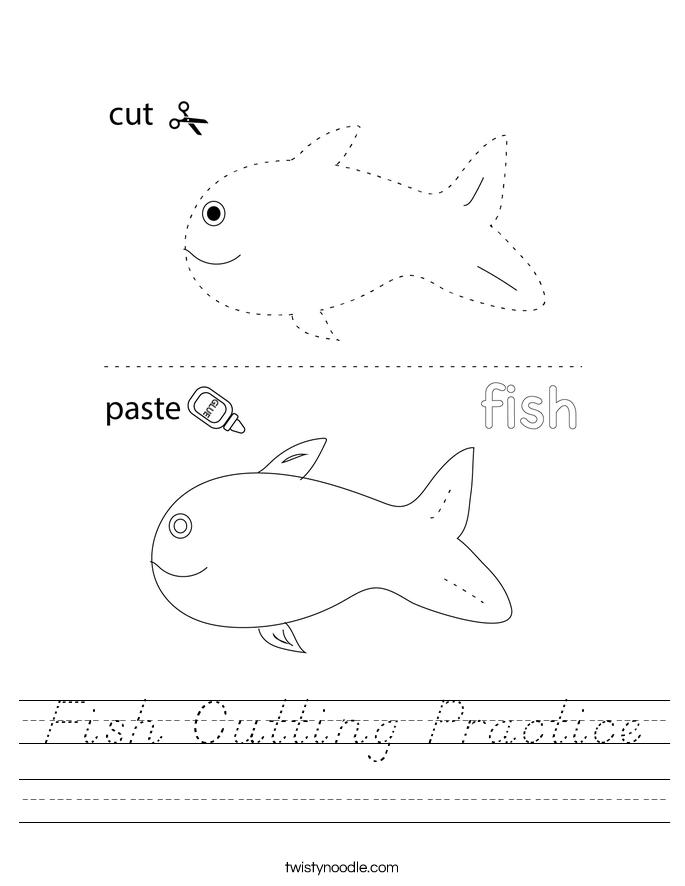 Fish Cutting Practice Worksheet
