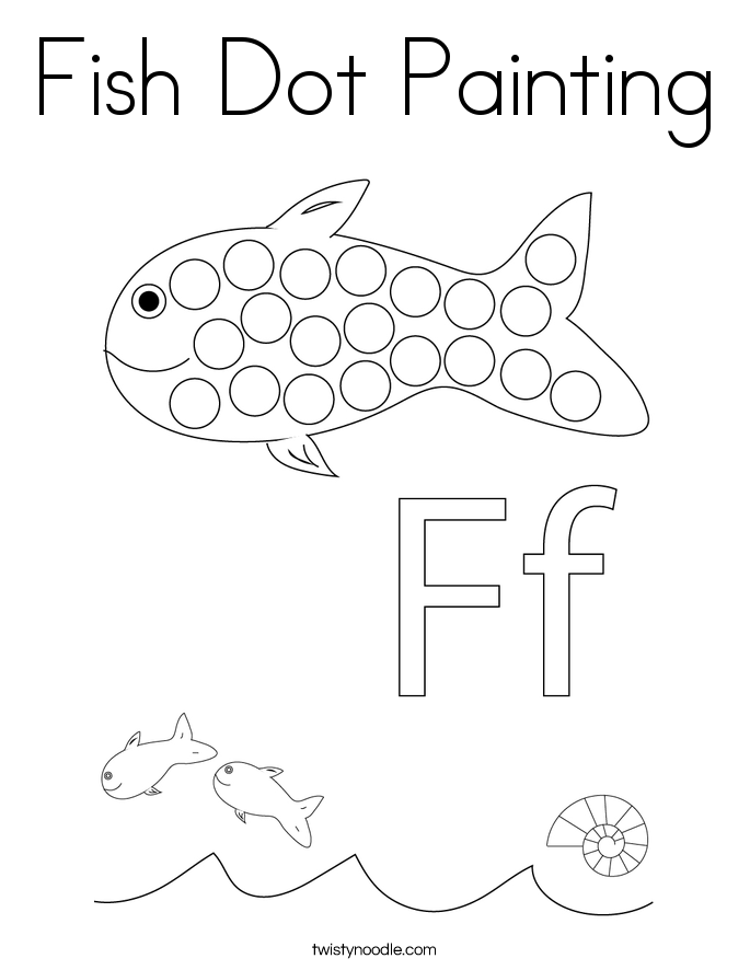 Fish Dot Painting Coloring Page