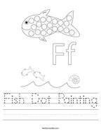 Fish Dot Painting Handwriting Sheet