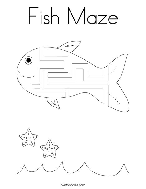 Fish Maze Coloring Page