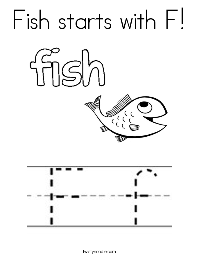 Fish starts with F! Coloring Page