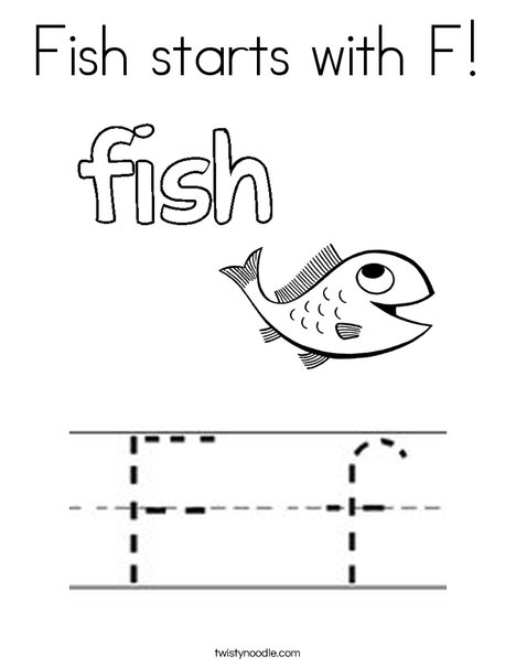 Fish Starts With F Coloring Page Twisty Noodle - F-is-for-fish-coloring-page