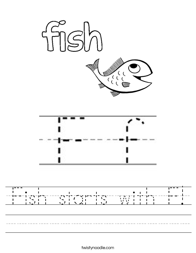 Fish starts with F Worksheet Twisty Noodle – Fish Worksheet