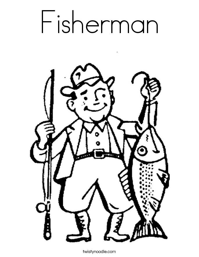 Fisherman Coloring Page Twisty Noodle Colouring Page
