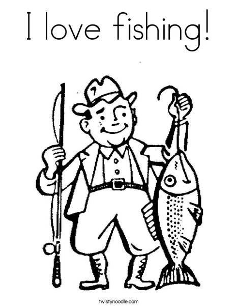 I Love Fishing Coloring Page