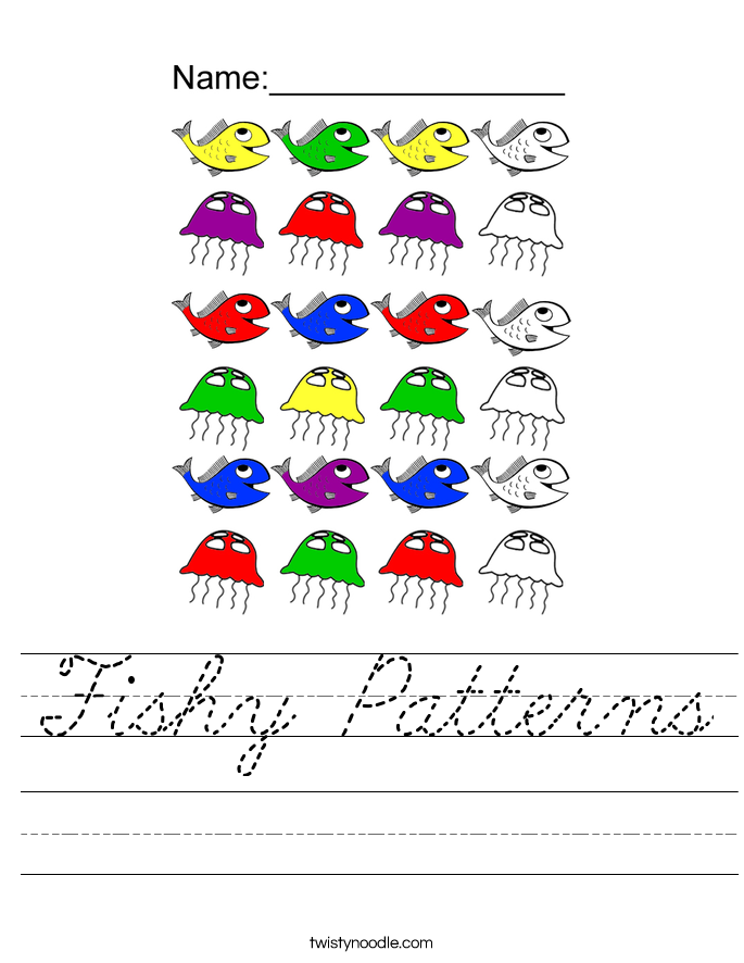Fishy Patterns Worksheet - Cursive - Twisty Noodle