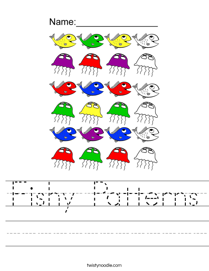 Fishy Patterns Worksheet - Twisty Noodle