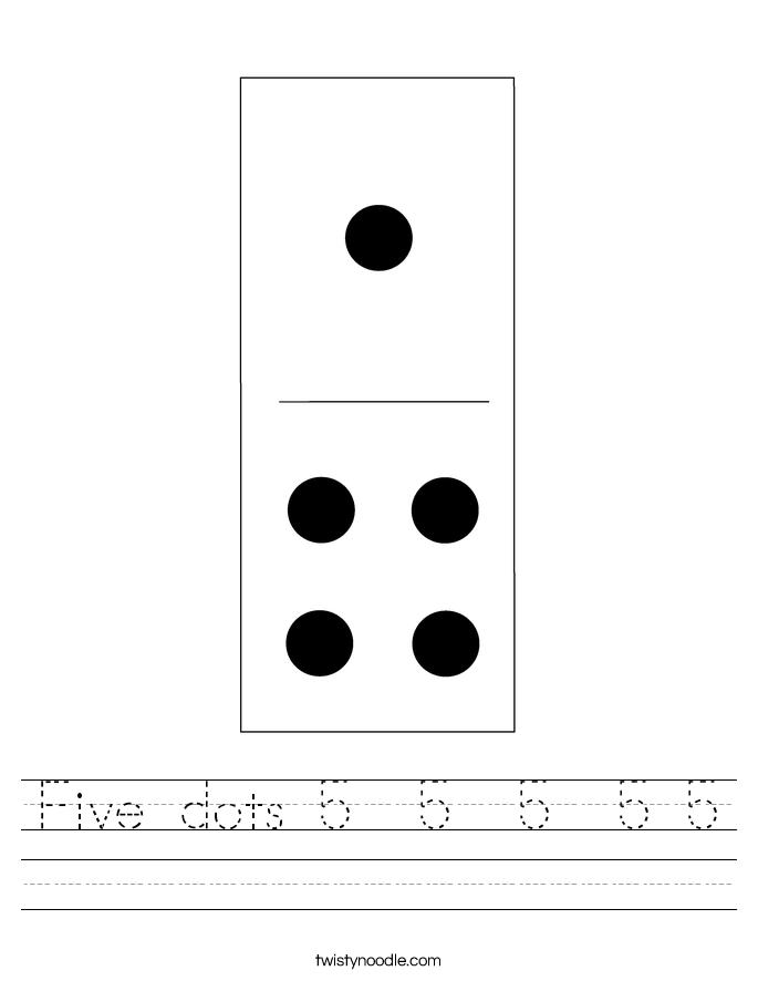 Five dots 5  5  5  5 5 Worksheet