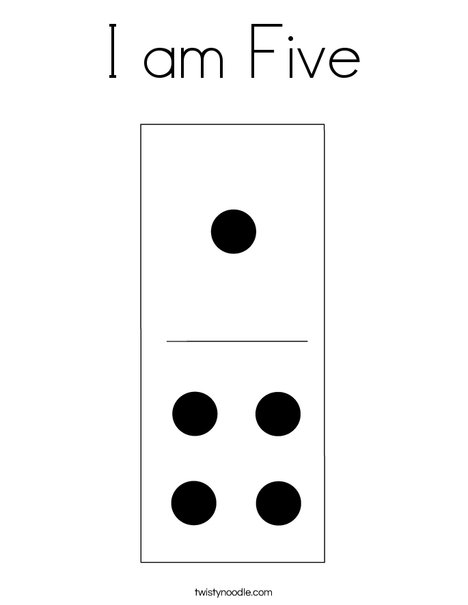 Domino Five Coloring Page