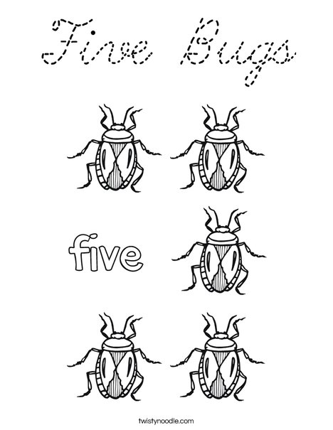 Five Bugs Coloring Page