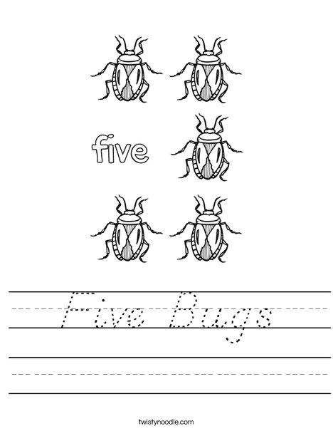 Five Bugs Worksheet