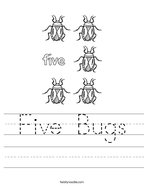 Five Bugs Handwriting Sheet